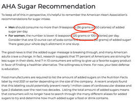 heart association recommends do not eat more than 36 grams of sugar per day for men and 25 grams of sugar per day for women
